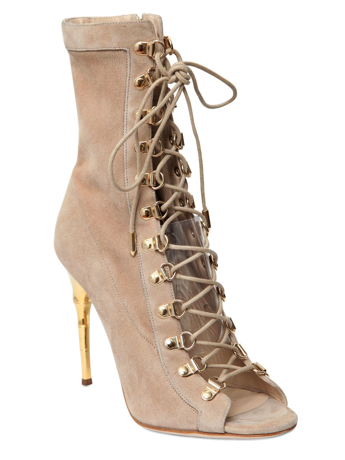 Balmain 110mm Ava Suede Lace Up Boots In Natural Lyst