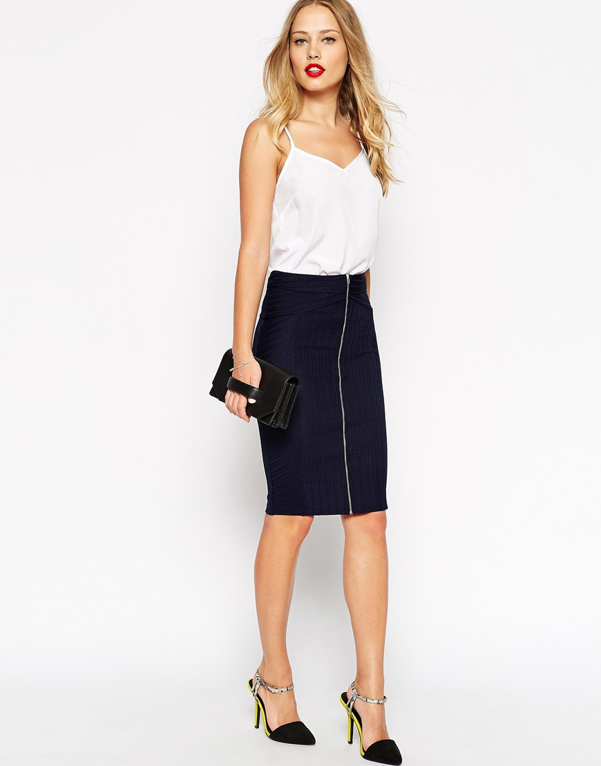 Asos Midi Pencil Skirt In Bandage in Blue | Lyst