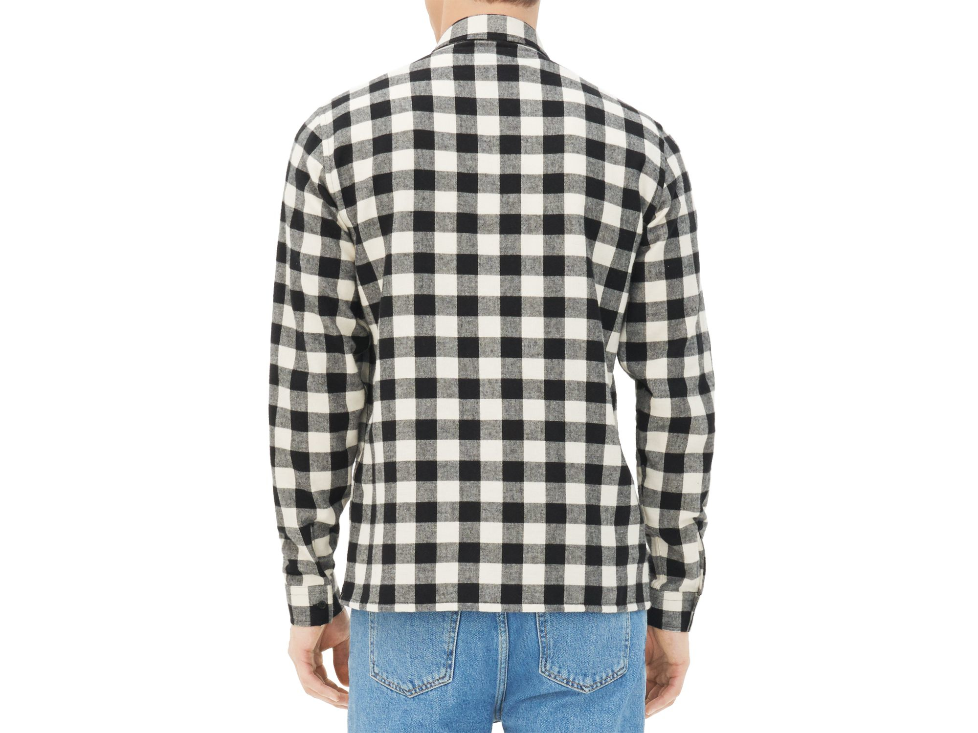 Sandro flannel slim fit button down shirt in black for men for Trim fit flannel shirts