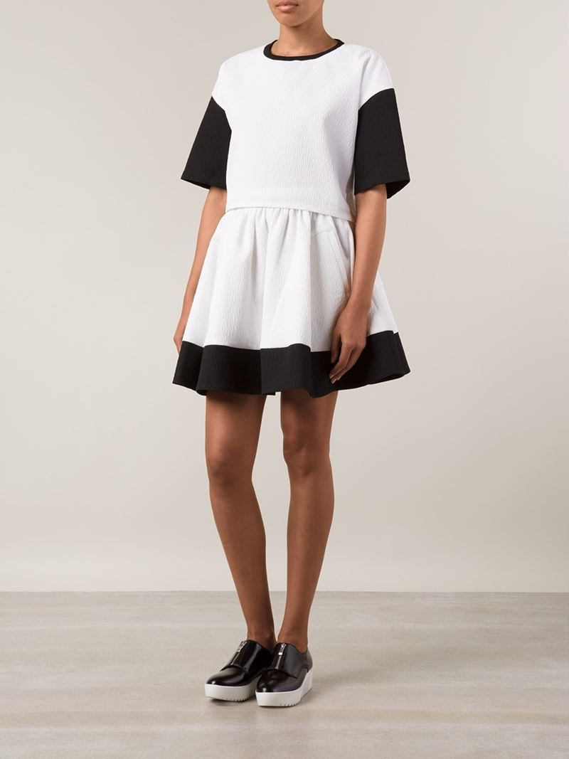 Comeforbreakfast Colour Block Pleated A-Line Skirt in ...