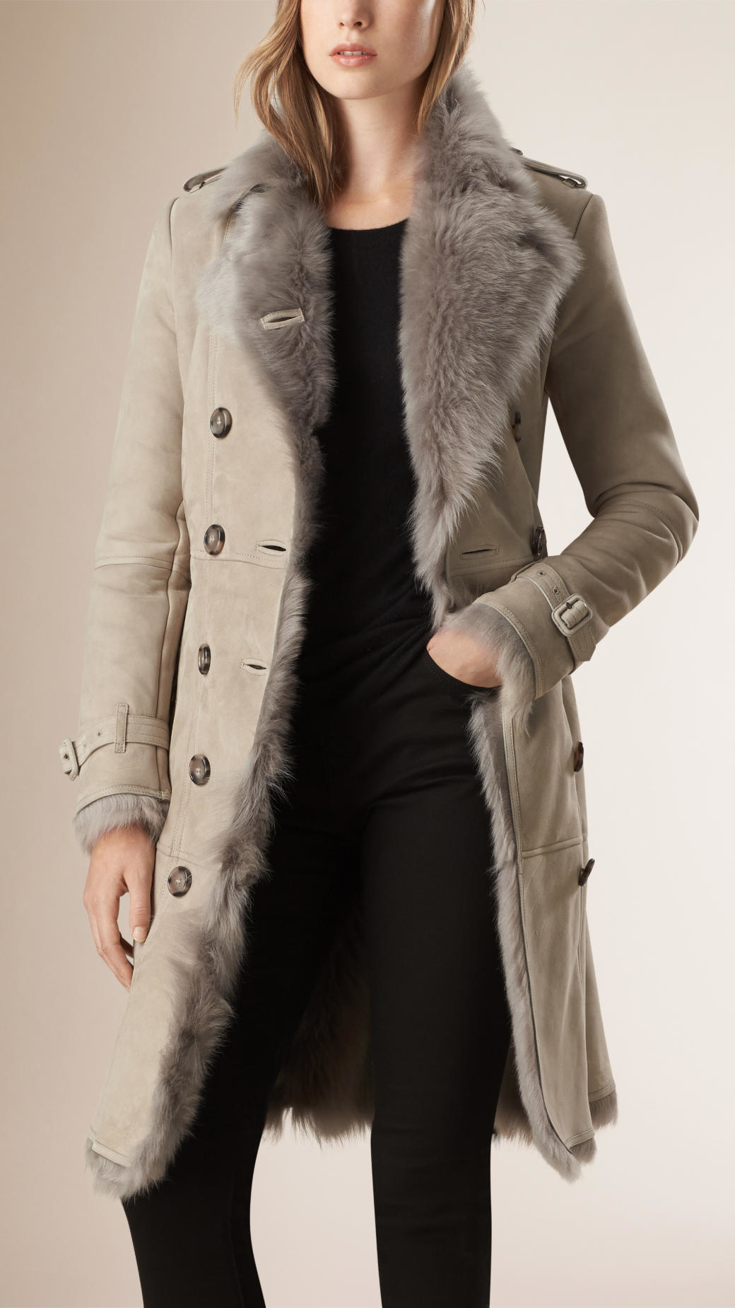 Burberry Shearling Trench Coat in Gray | Lyst