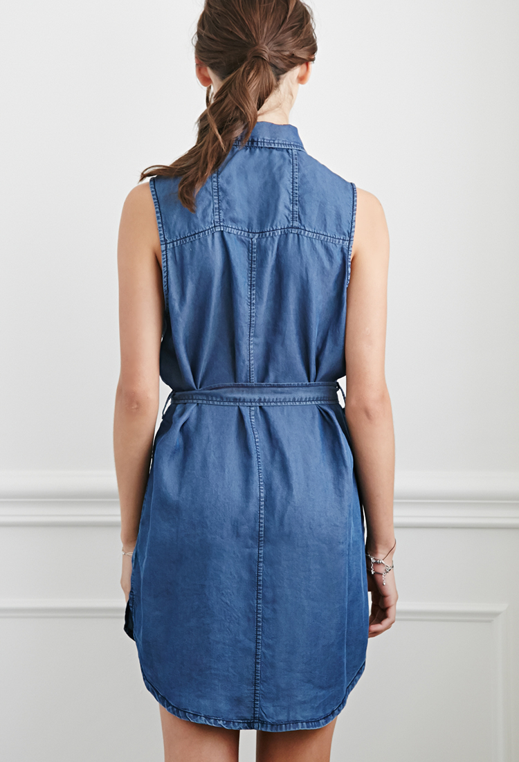 Lyst Forever 21 Belted Chambray Shirt Dress In Blue