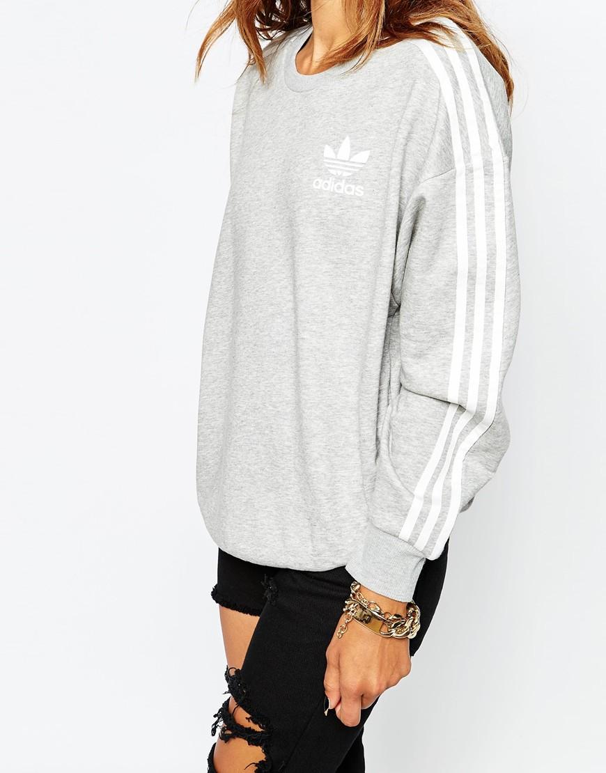 adidas originals 3 stripe crew neck sweatshirt in gray lyst. Black Bedroom Furniture Sets. Home Design Ideas