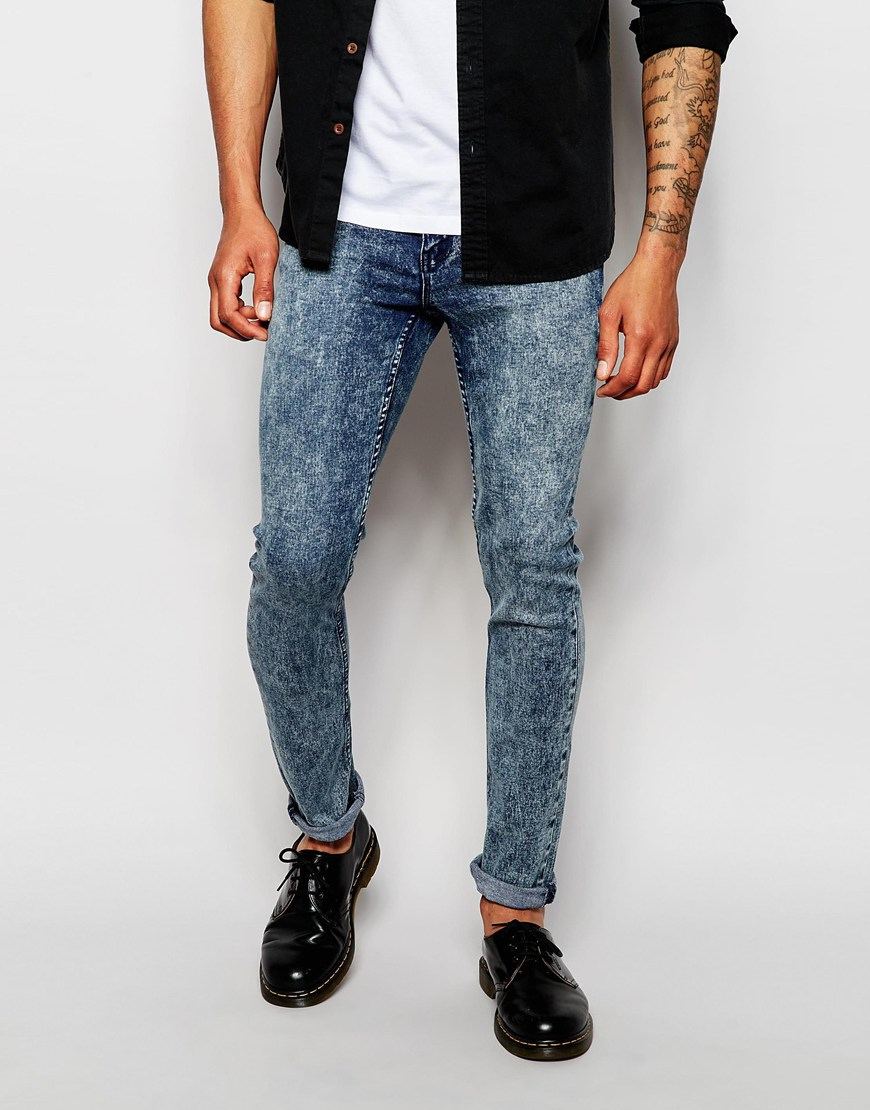 Cheap monday Jeans Tight Skinny Fit Zine Blue Acid Wash in Blue ...