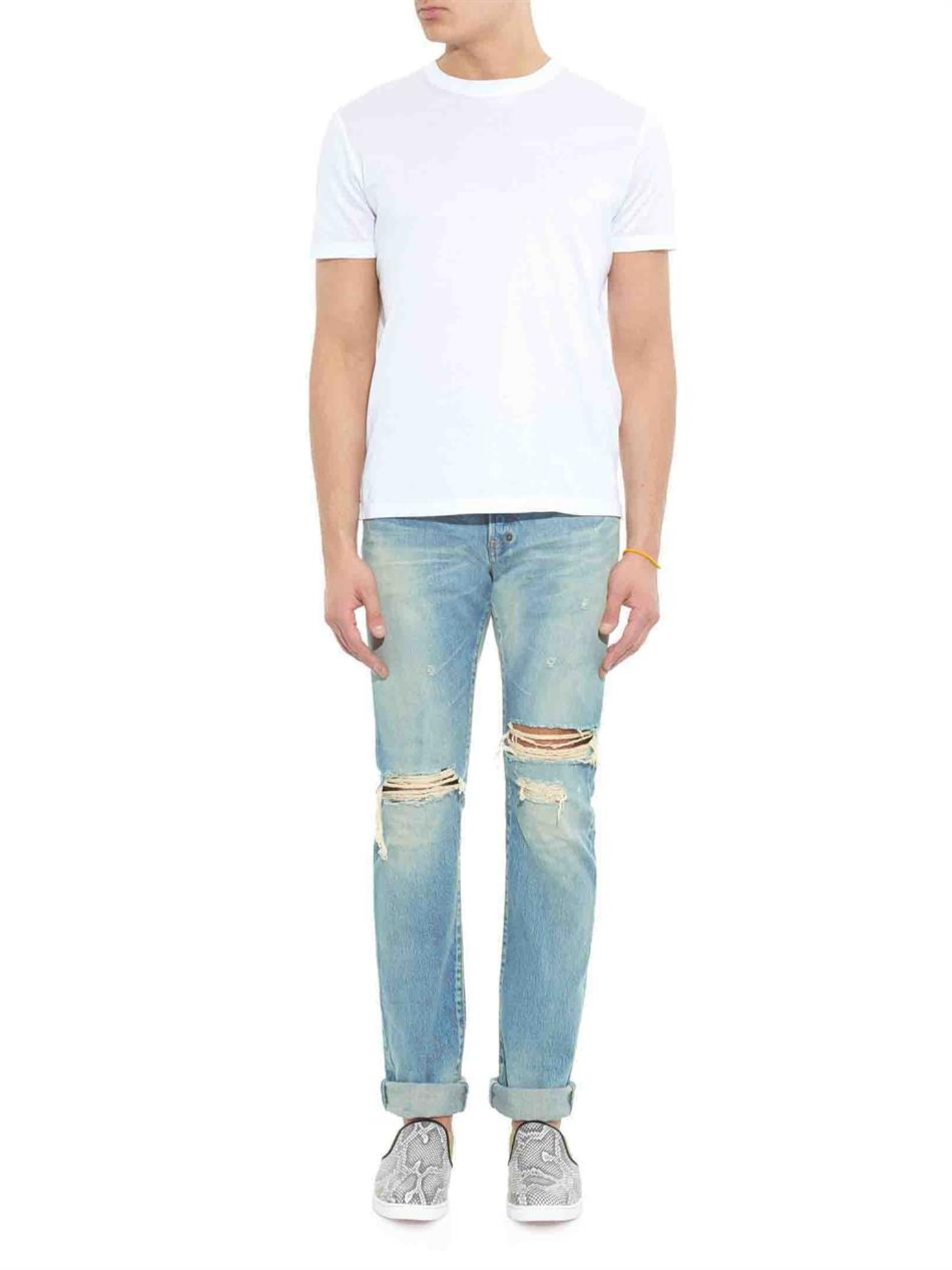 Prps Fury-fit Ripped Light-wash Jeans in Blue for Men | Lyst