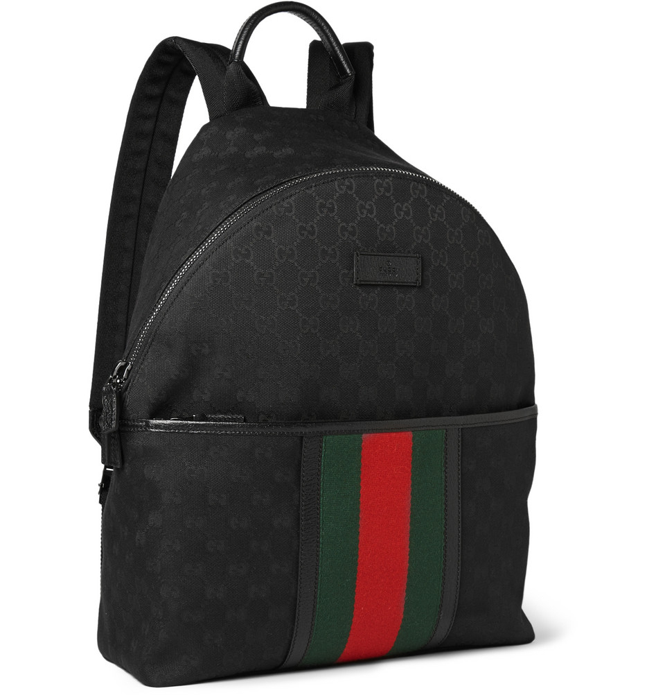 Gucci Leather-Trimmed Canvas Backpack in Black for Men | Lyst