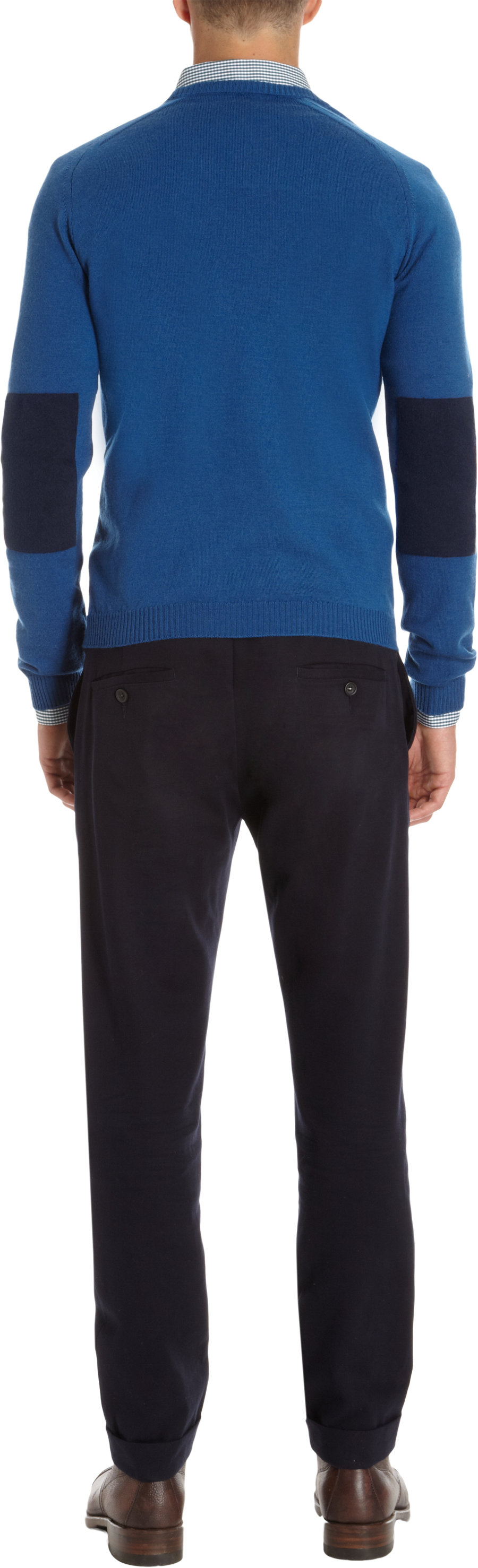 Lyst basco crew neck sweater with contrast flannel elbow for Mens flannel shirt with elbow patches