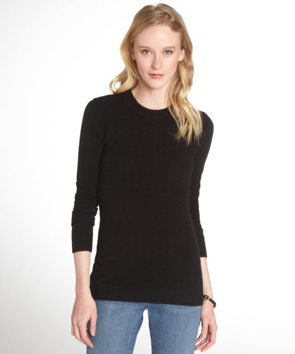 Inhabit Black Cashmere Crewneck Sweater in Black | Lyst