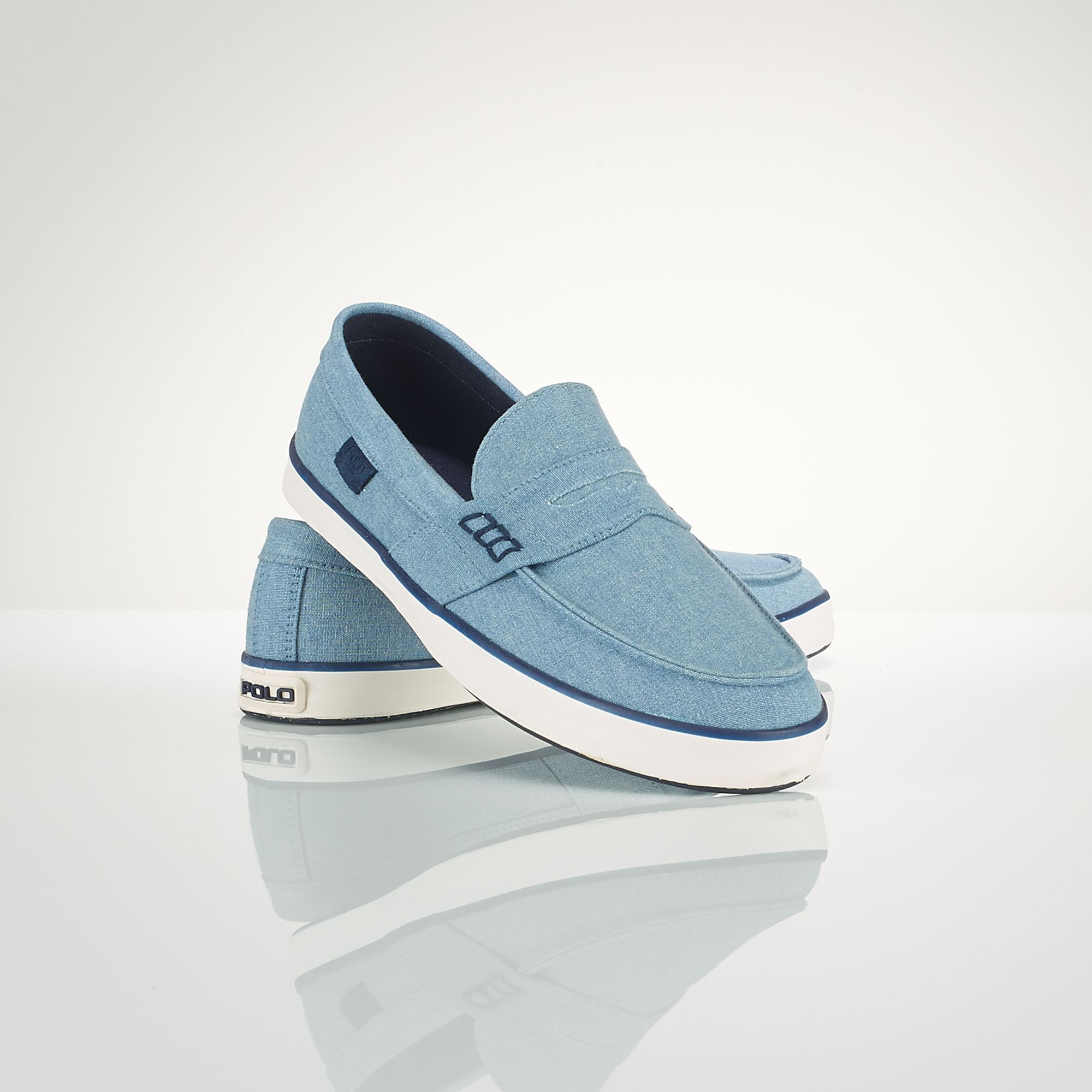 polo ralph canvas evan sneaker in blue for