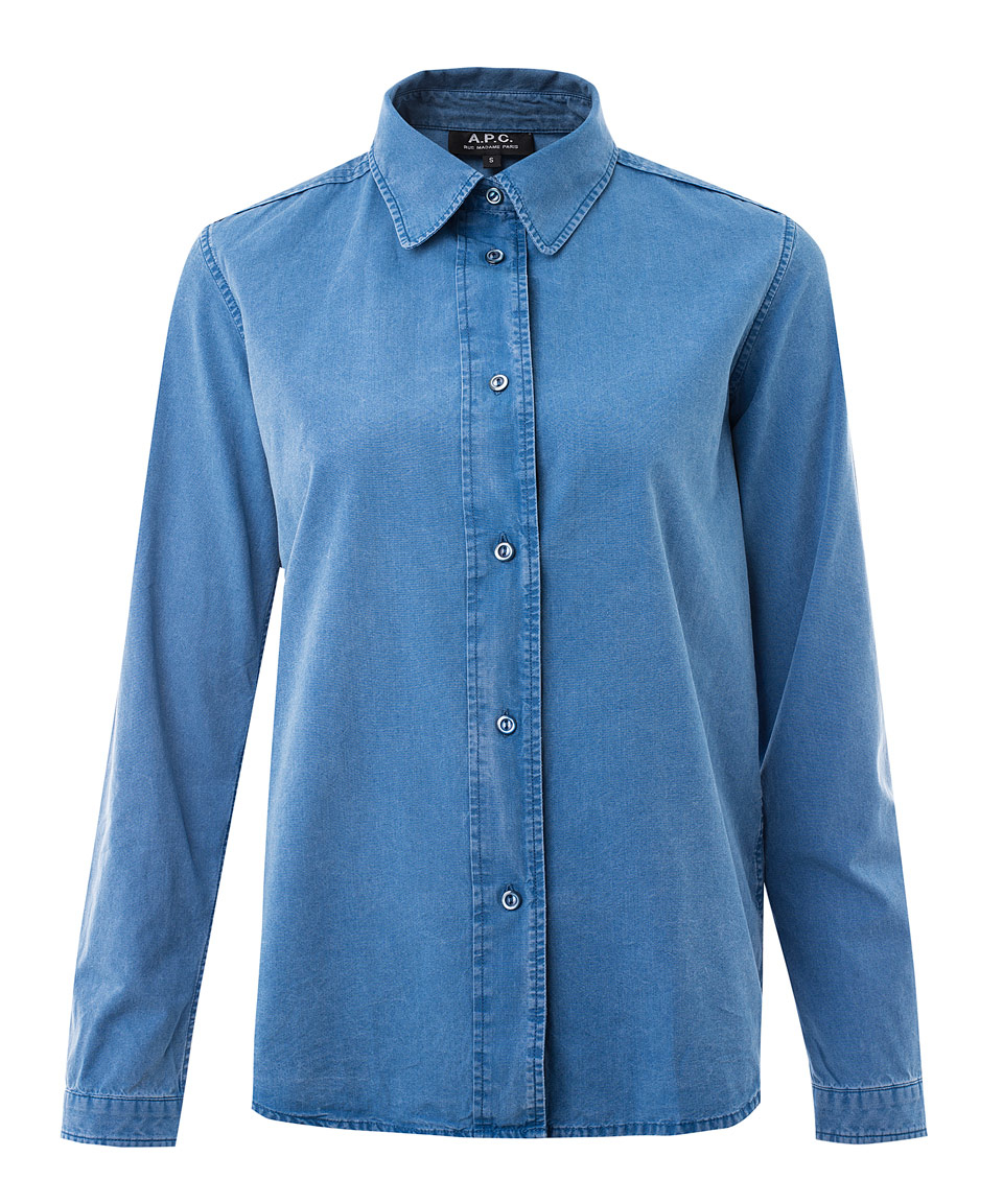 Lyst a p c light blue mike chambray shirt in blue for Chambray 7 s