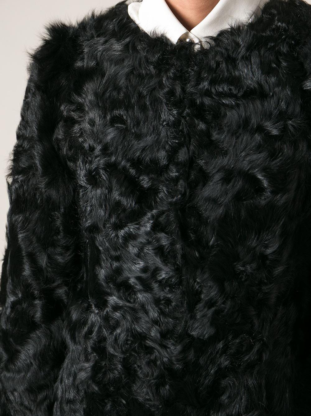 Ravn Curly Lamb Fur Coat In Black Lyst