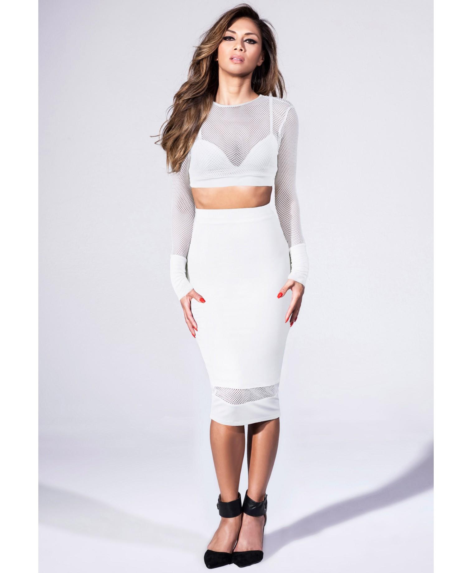missguided midi skirt with fishnet hem detail in white in