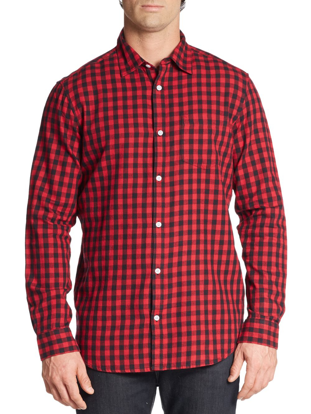 Saks fifth avenue slim fit buffalo plaid cotton flannel for Trim fit flannel shirts