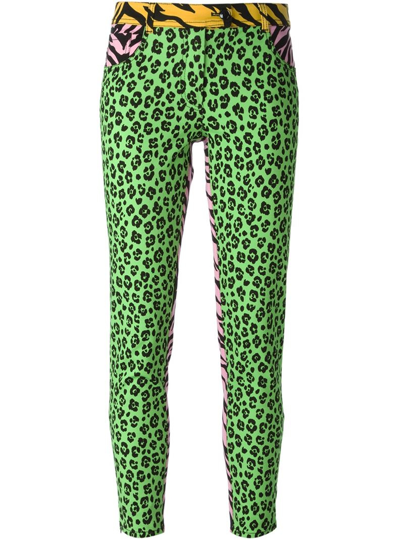 3c79401cf541 Boutique Moschino Animal Print Jeans in Green - Lyst