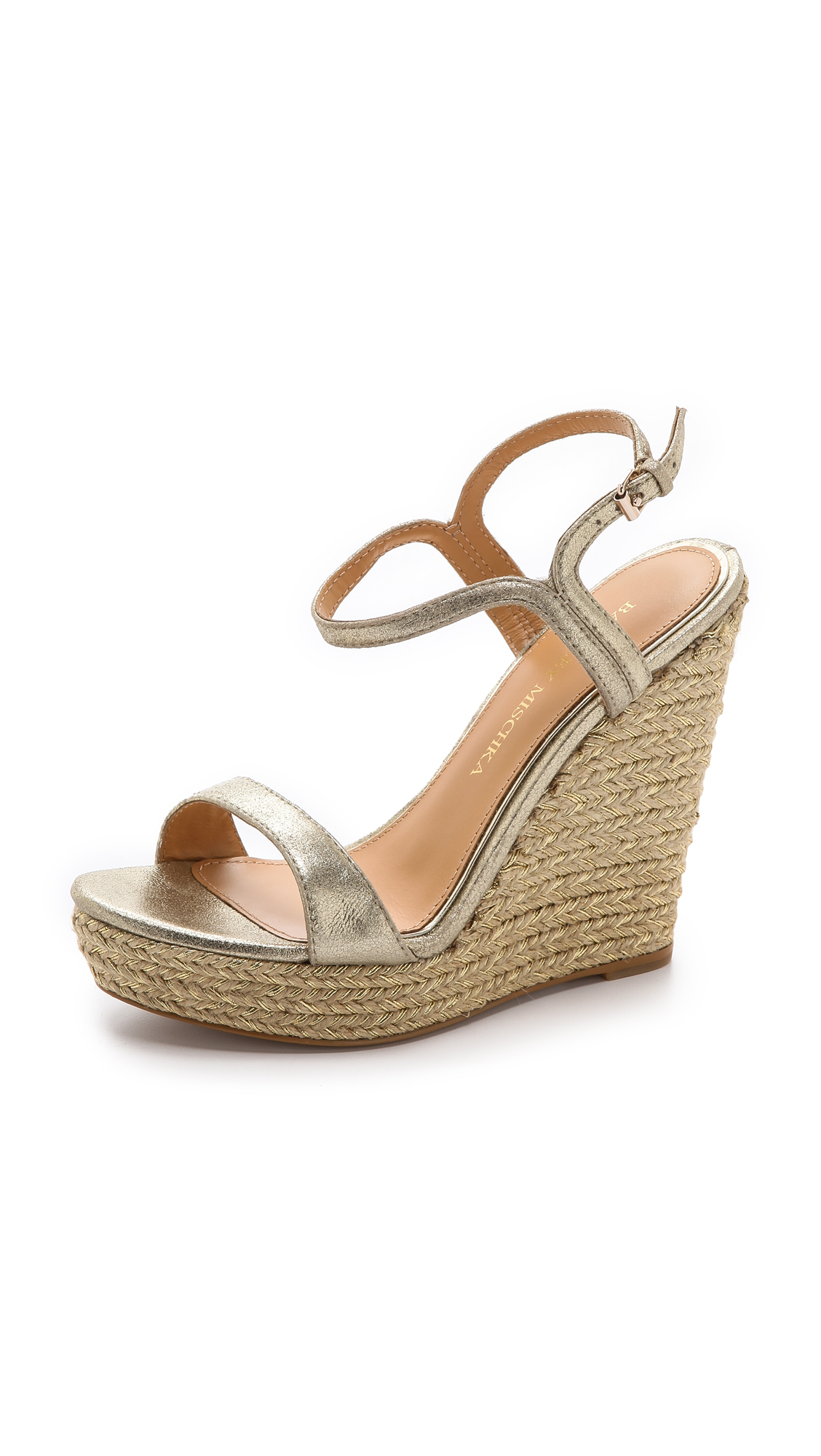 badgley mischka kleo espadrille wedge sandals in beige