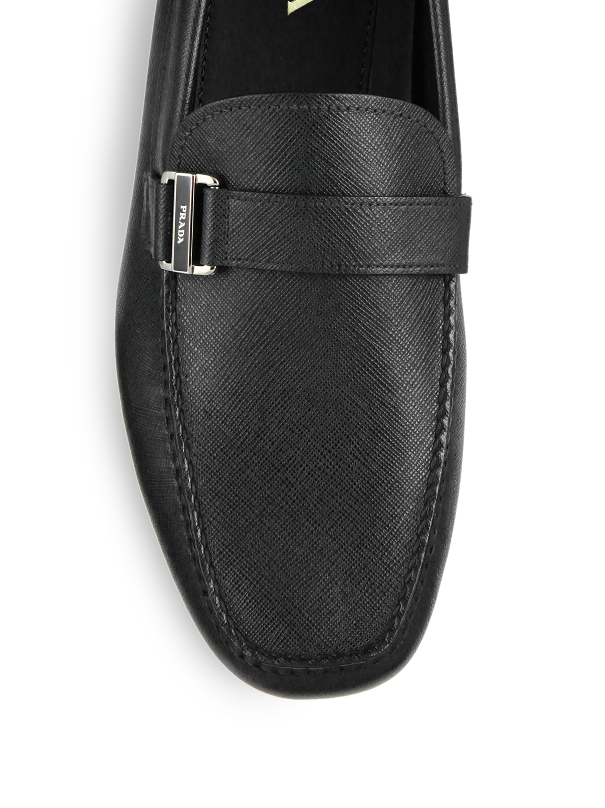d94675549cf ... shop lyst prada saffiano leather side buckle drivers in black for men  0dc58 81cc7
