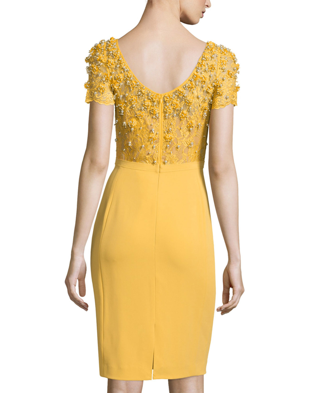Lyst - Jenny Packham Embellished Stretch-Crepe Dress in Yellow