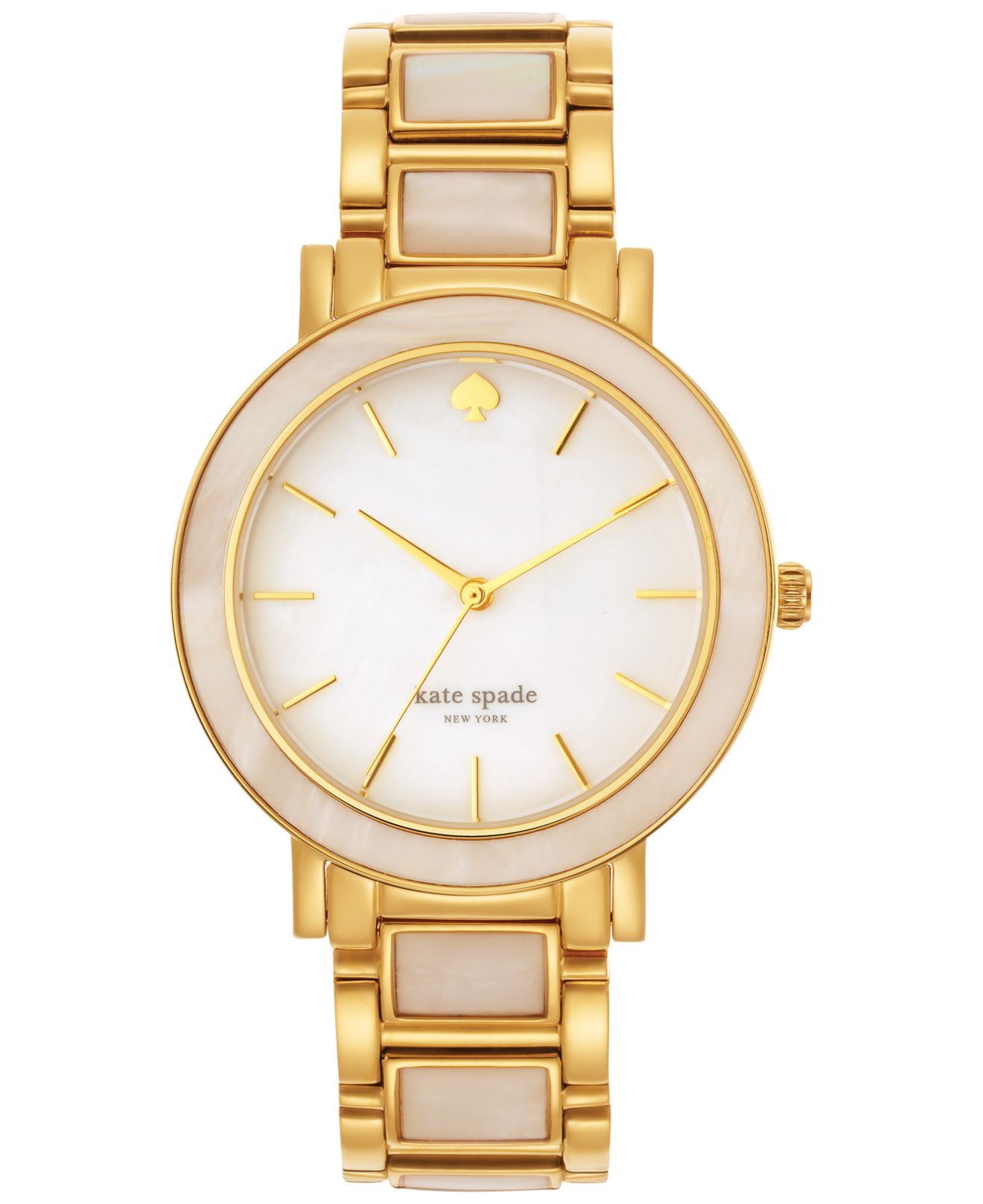 Mother of Pearl Goldtone Round Bracelet Watch - Women