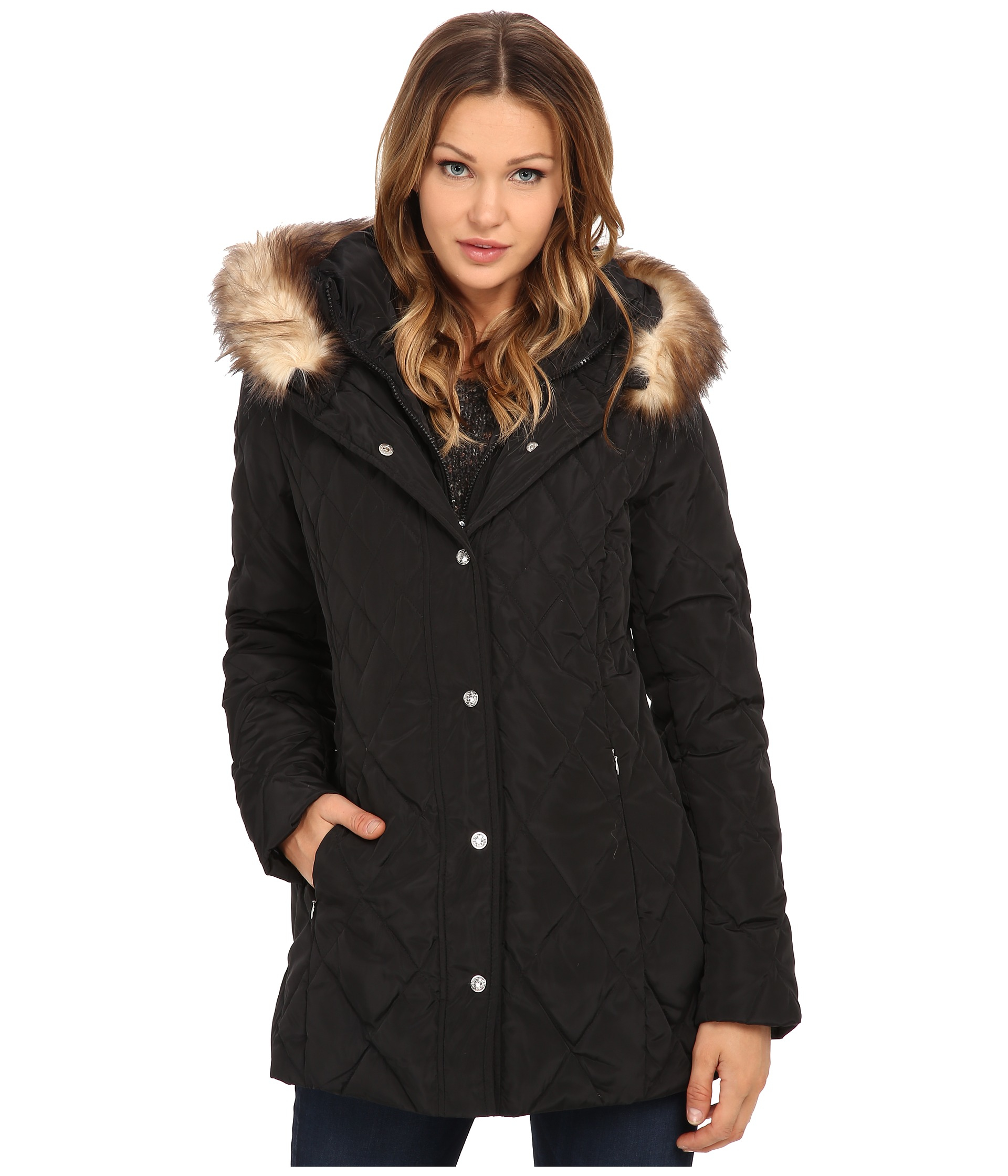 Jessica Simpson Quilted Down With Faux Fur Trim In Black