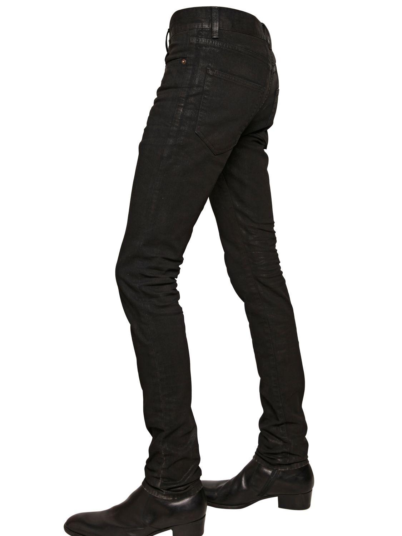 Black Waxed Denim Jeans Men