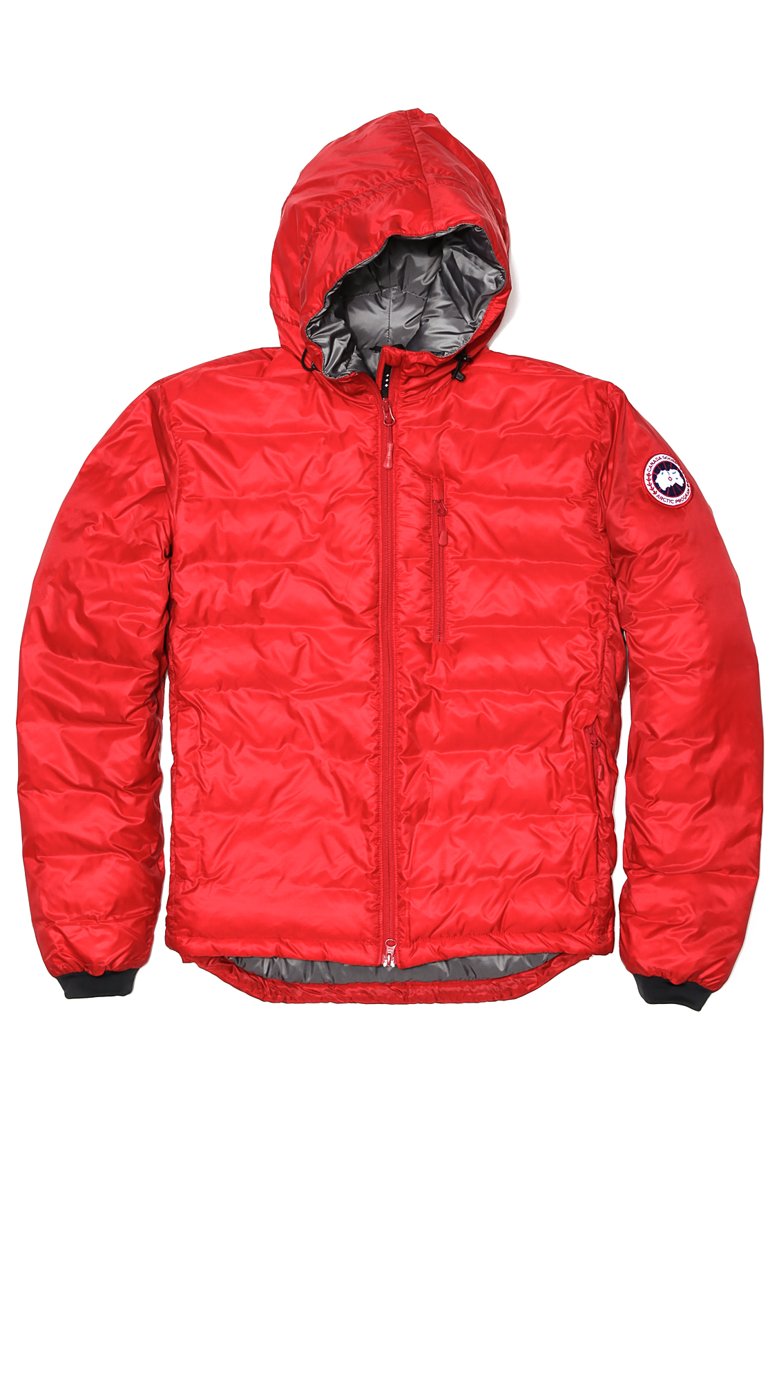Canada goose lodge hoodie jacket in red for men lyst for Canada goose t shirt
