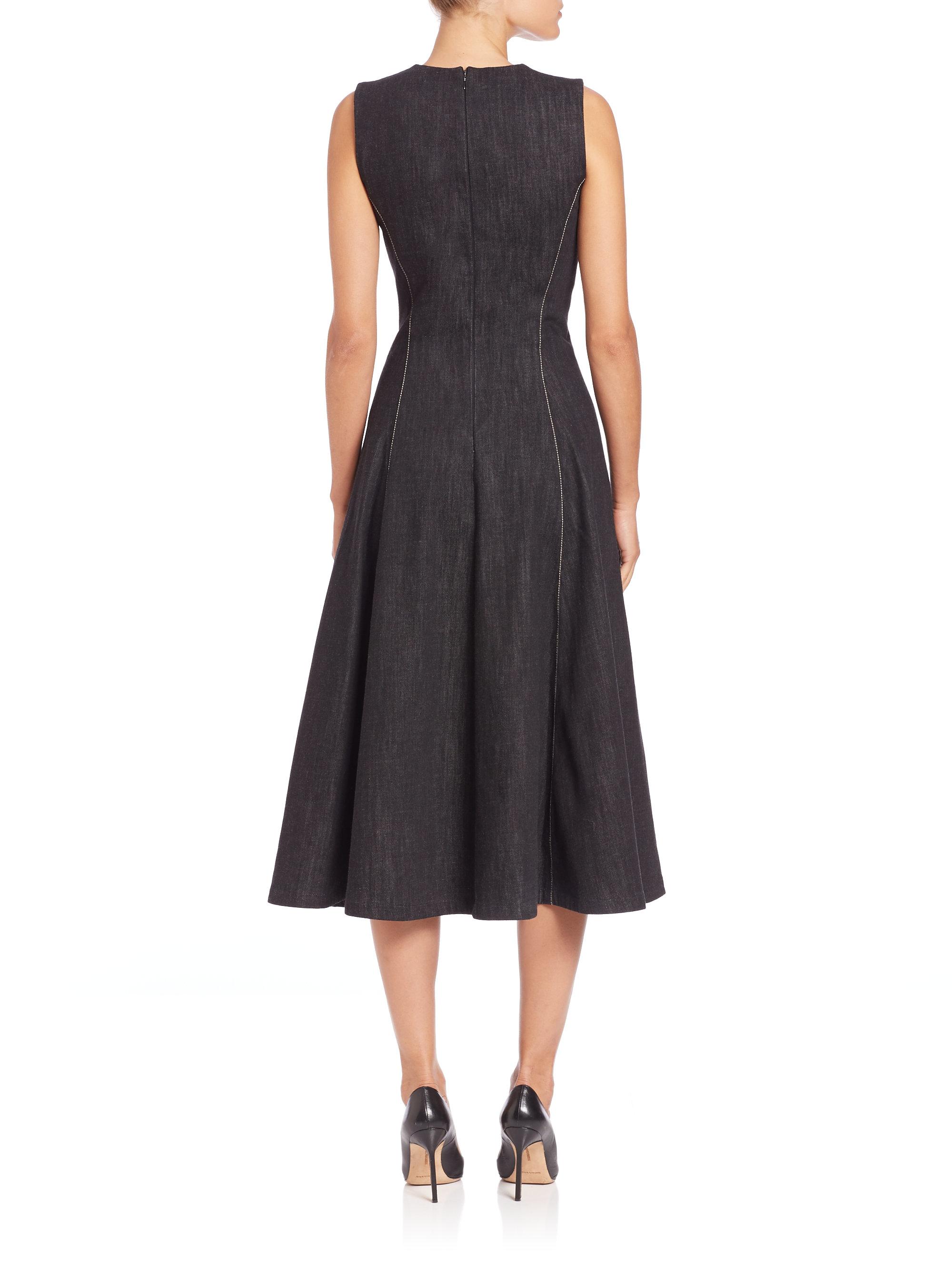 Lyst - Ralph Lauren Collection Pauline Denim Fit-&-flare Dress in Black