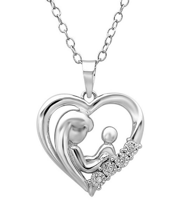 Lyst amanda rose collection mother child diamond heart pendant gallery mozeypictures Images