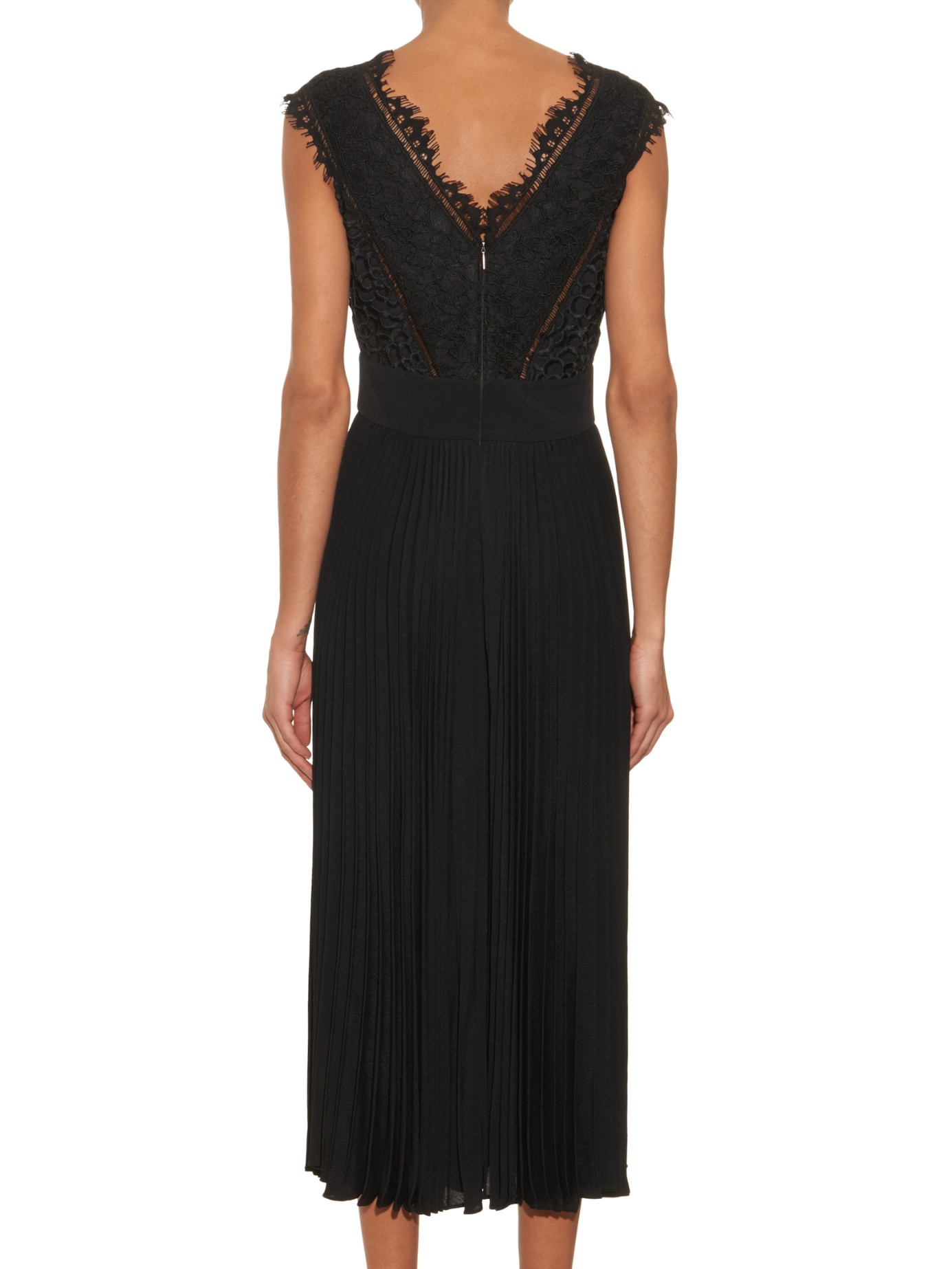 Rebecca Taylor Deep V Neck Pleated Lace Dress In Black Lyst