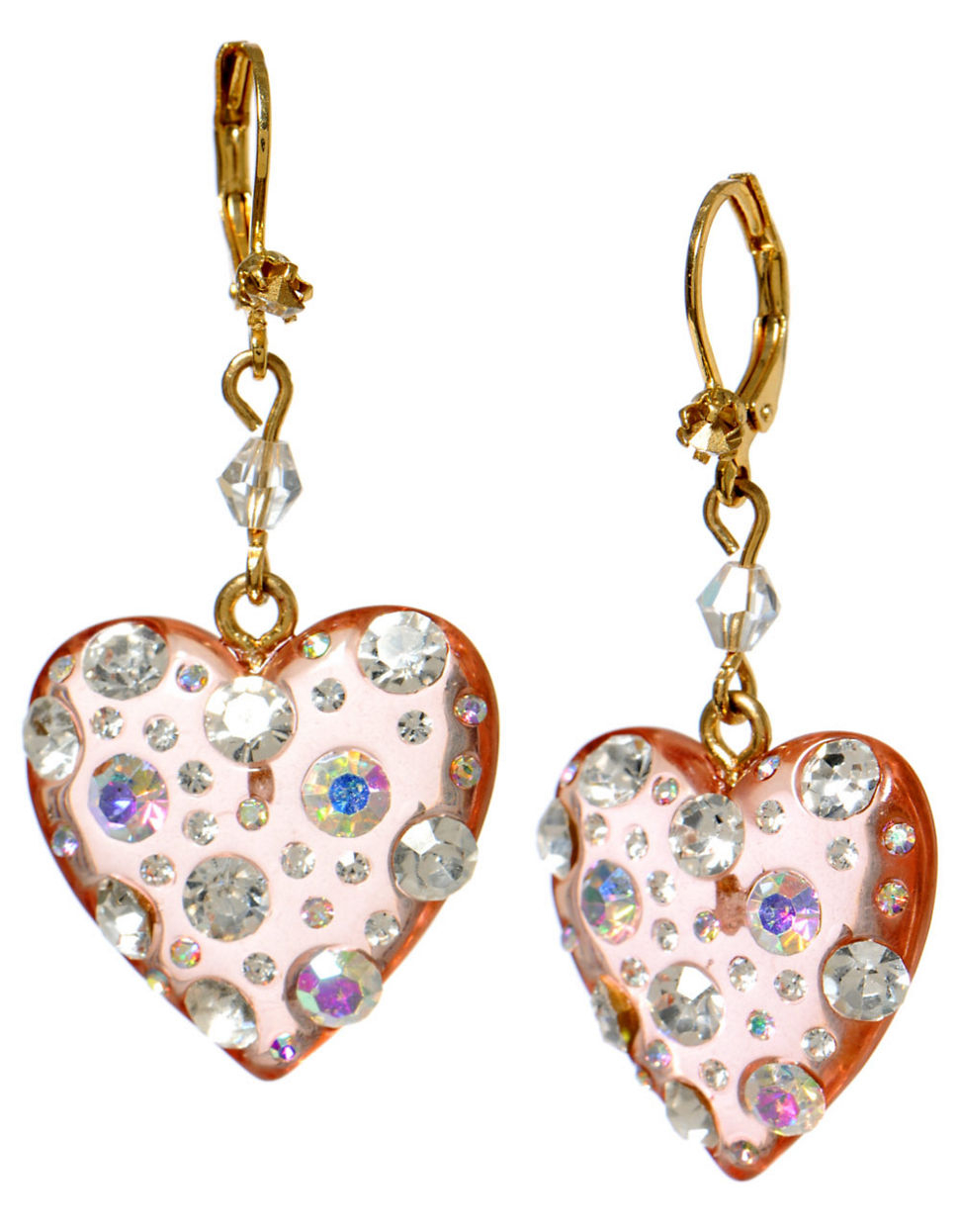 betsey johnson crystallized lucite drop earrings in