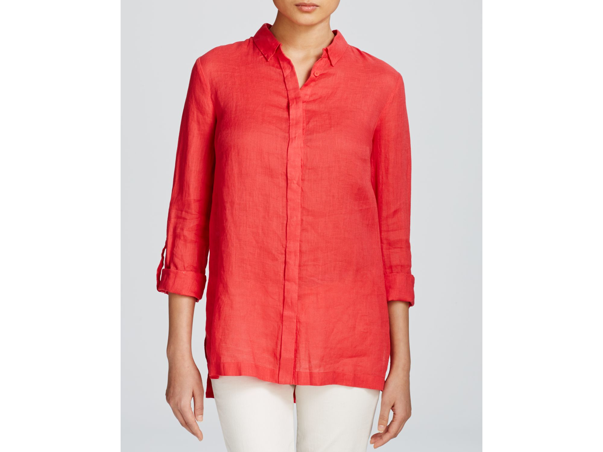 Lyst Elie Tahari Carly Linen Blouse In Red
