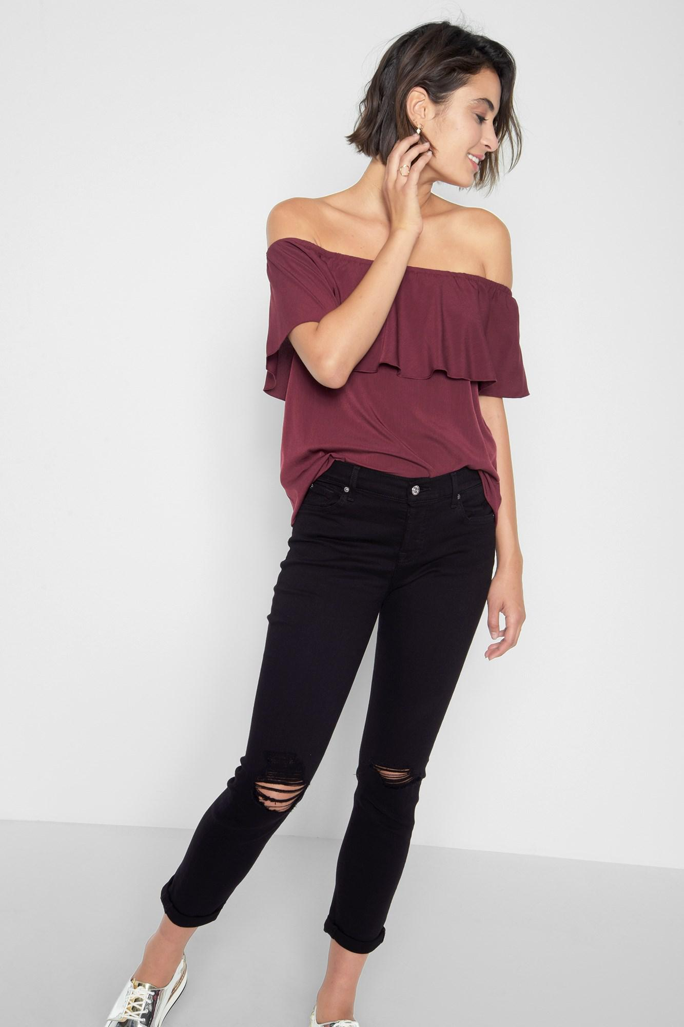 f5e940e7be6 Lyst - 7 For All Mankind Off Shoulder Ruffle Top In Burgundy in Purple