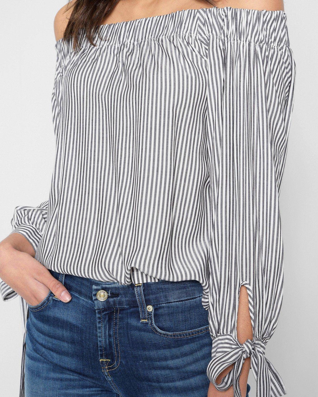 4b2ebb2f7b9 7 For All Mankind Off Shoulder Tie Top In Grey Stripe in Gray - Lyst