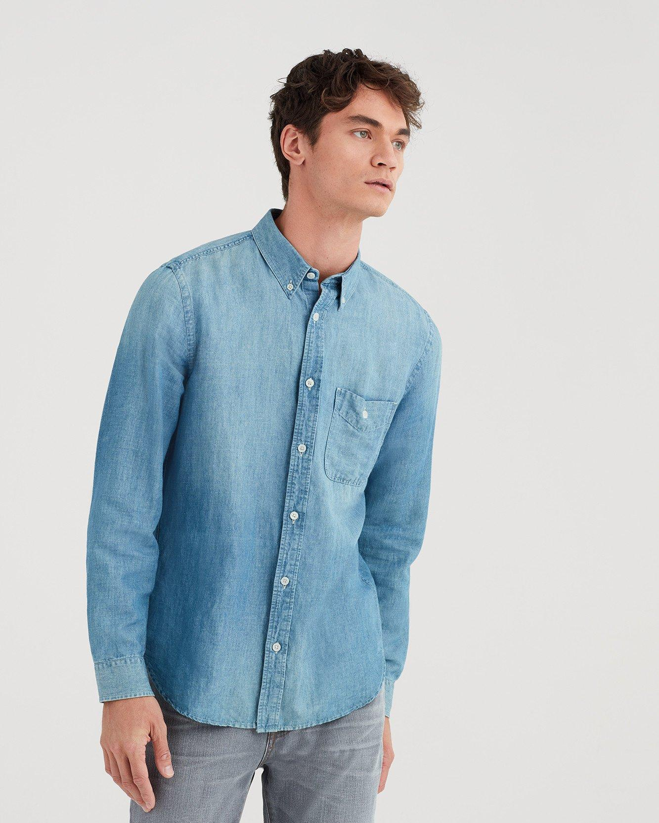 16688b23f1 Lyst - 7 For All Mankind Long Sleeve Front Pocket Denim Shirt In ...