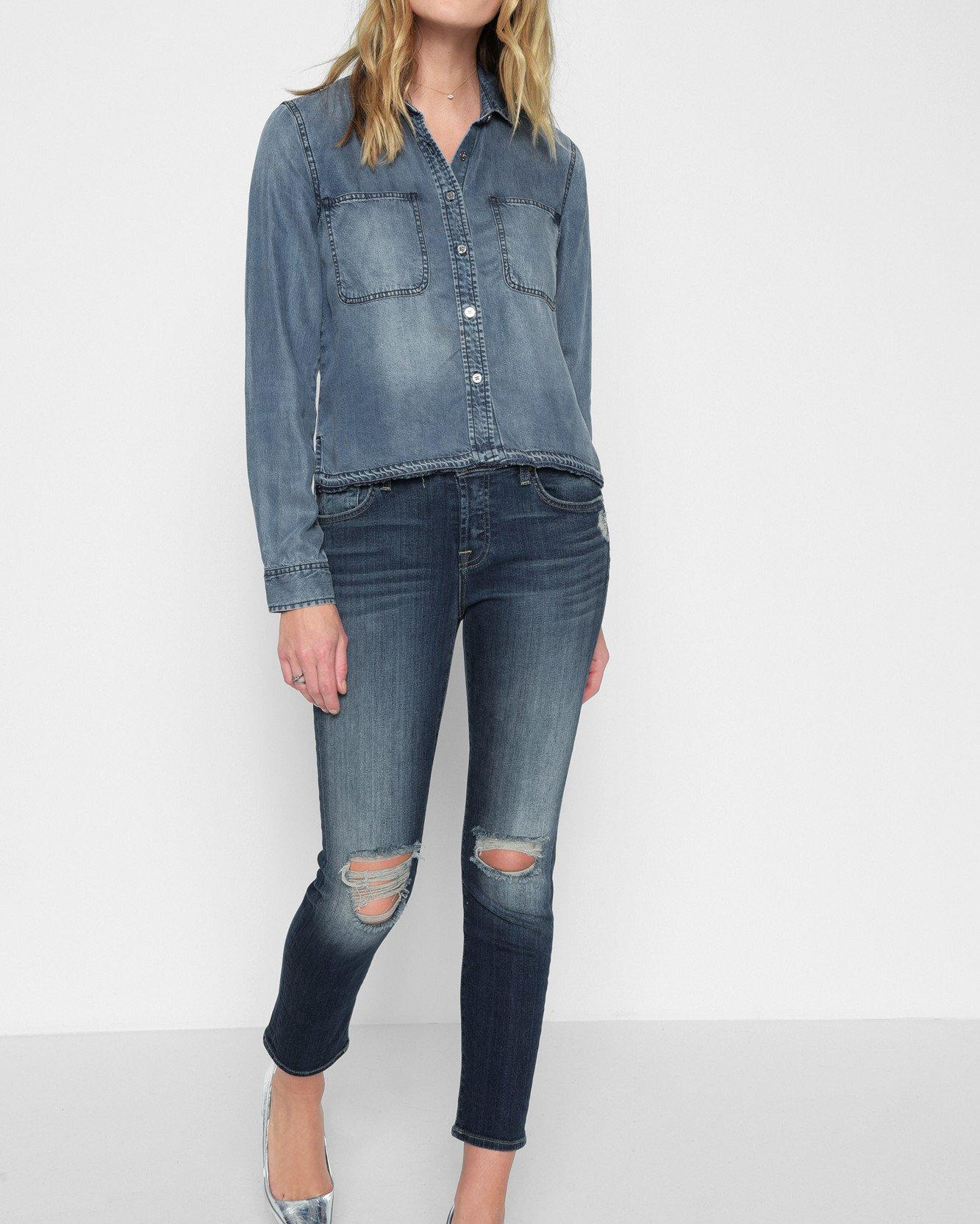94b52003827 Lyst - 7 For All Mankind Step Hem Denim Shirt With Released Hem In Mineral  Blue in Blue