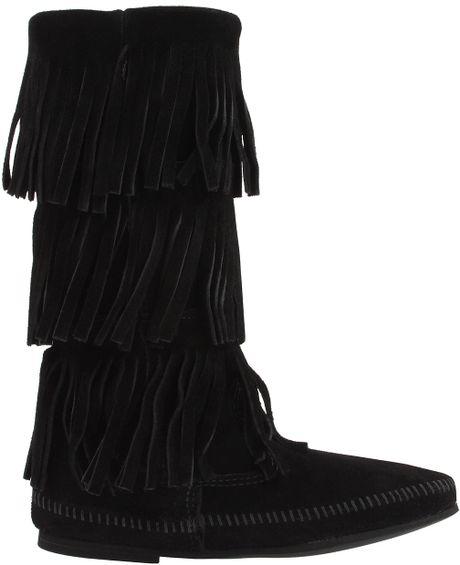 minnetonka calf hi 3 layer fringe boot in black black