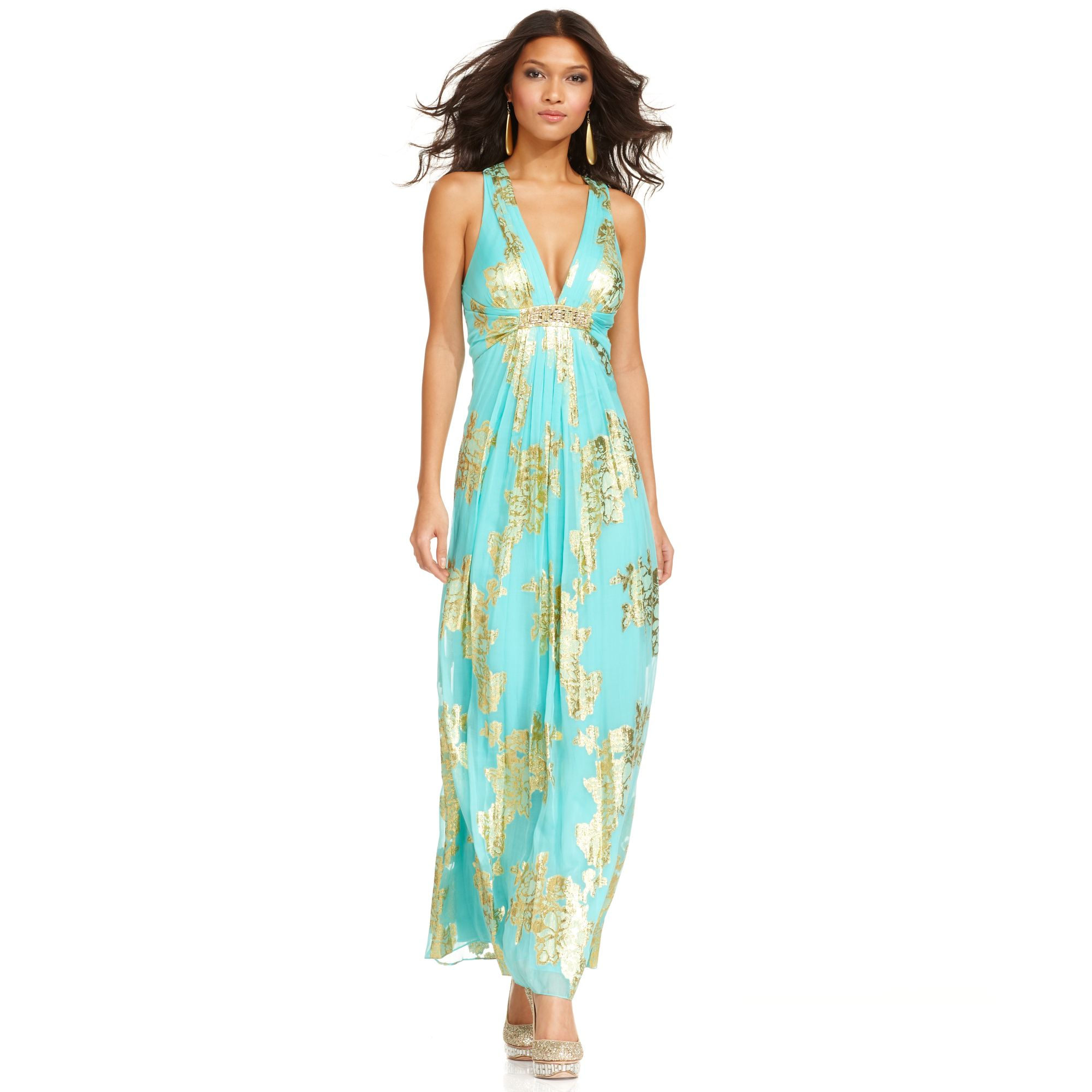 Lyst - Xscape Dress Sleeveless Metallic Floral Print Pleated Gown in ...