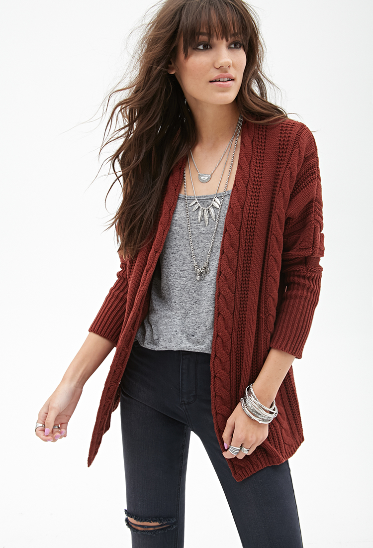 Forever 21 Cable Knit Batwing Cardigan in Brown | Lyst