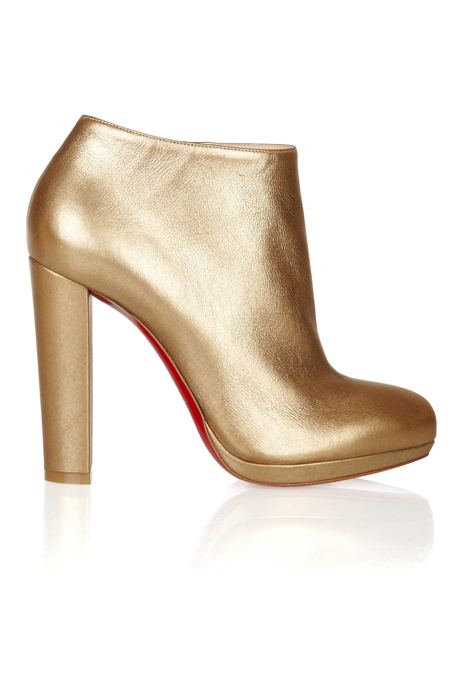 b0be84cefe5 Christian Louboutin Rock   Gold 120 Metallic Leather Ankle Boots in ...