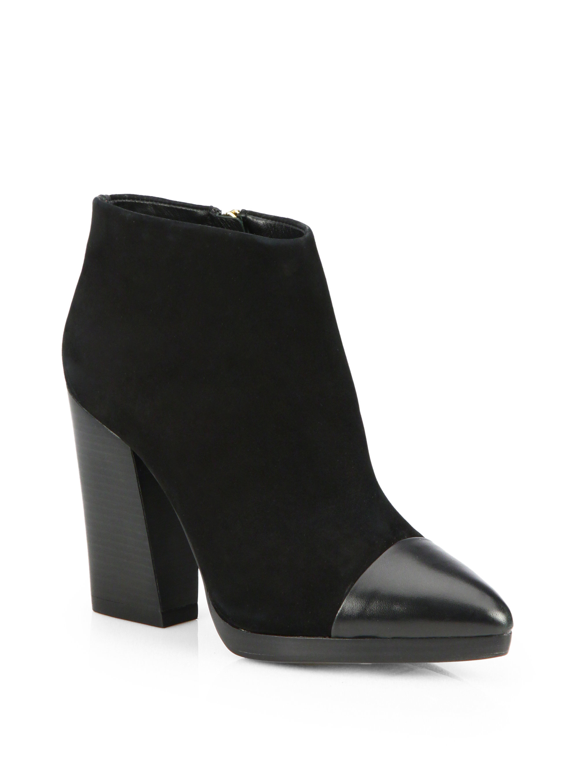 burch rivington suede platform ankle boots in black