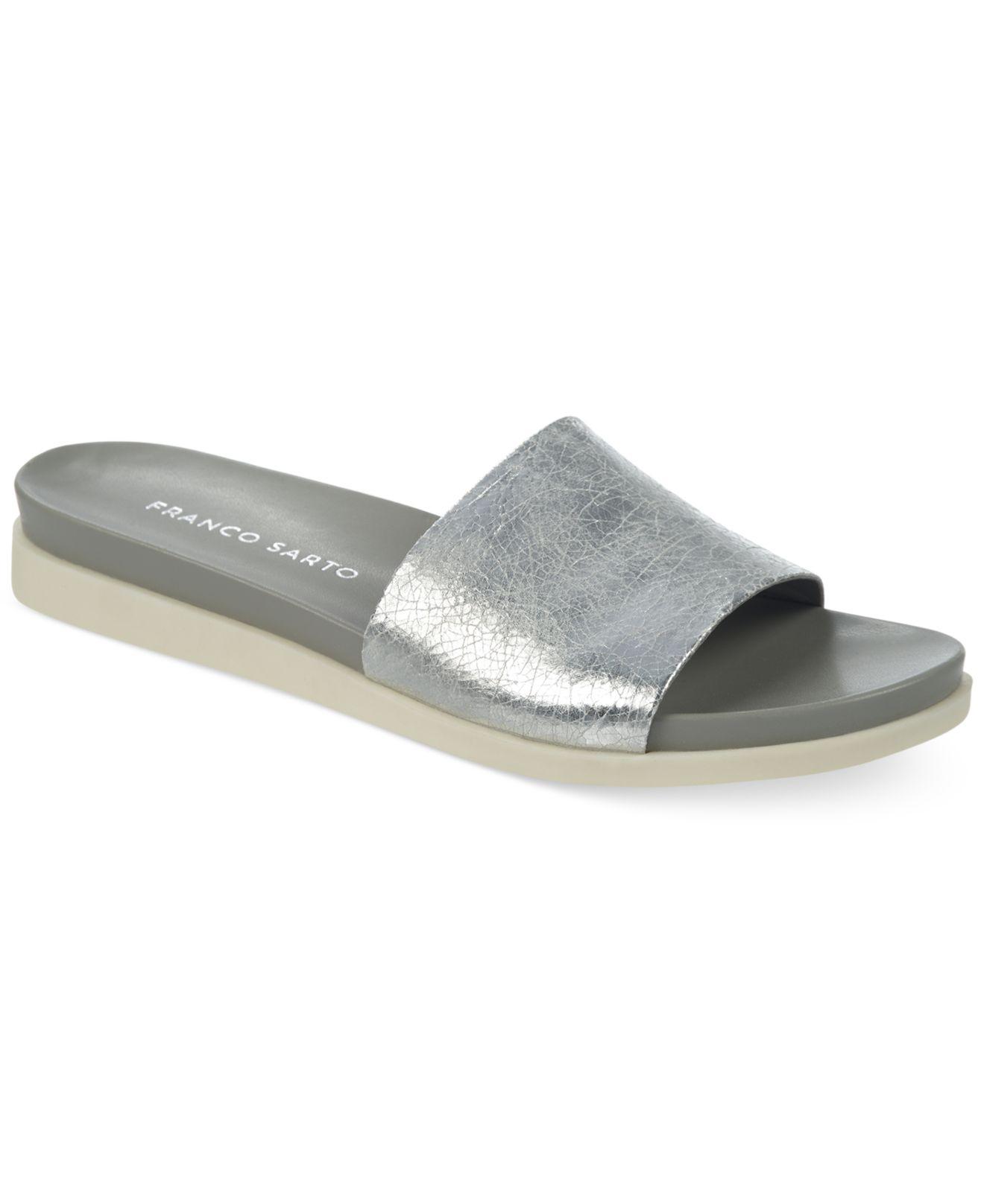 Lyst Franco Sarto Lumina Flat Slide Sandals In Metallic