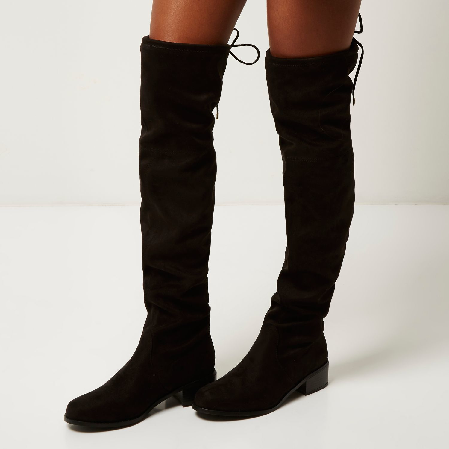 b5c6c8db73c Lyst - River Island Black Tie Back Over The Knee Boots in Black