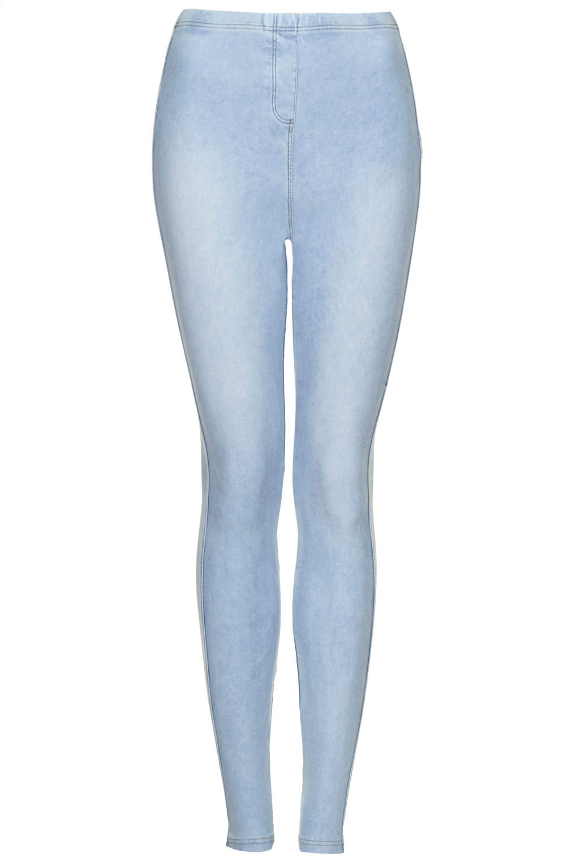 Topshop Tall Washed Denim Look Leggings in Blue | Lyst