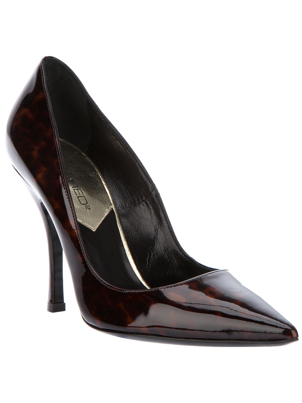 dsquared 178 pointed court shoe in black lyst