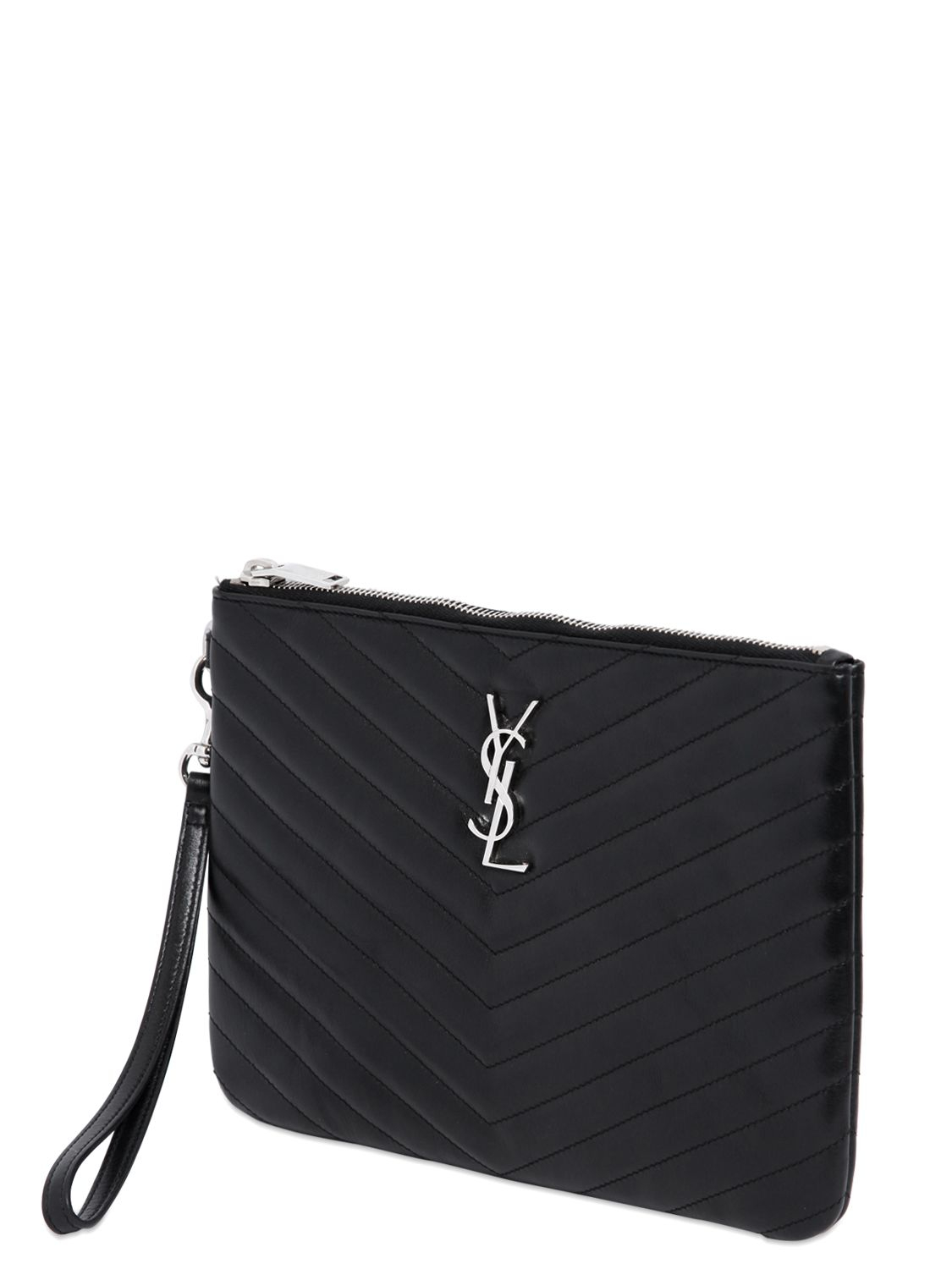 Saint Laurent Monogram Quilted Leather Pouch in Black - Lyst f40ec6d921612