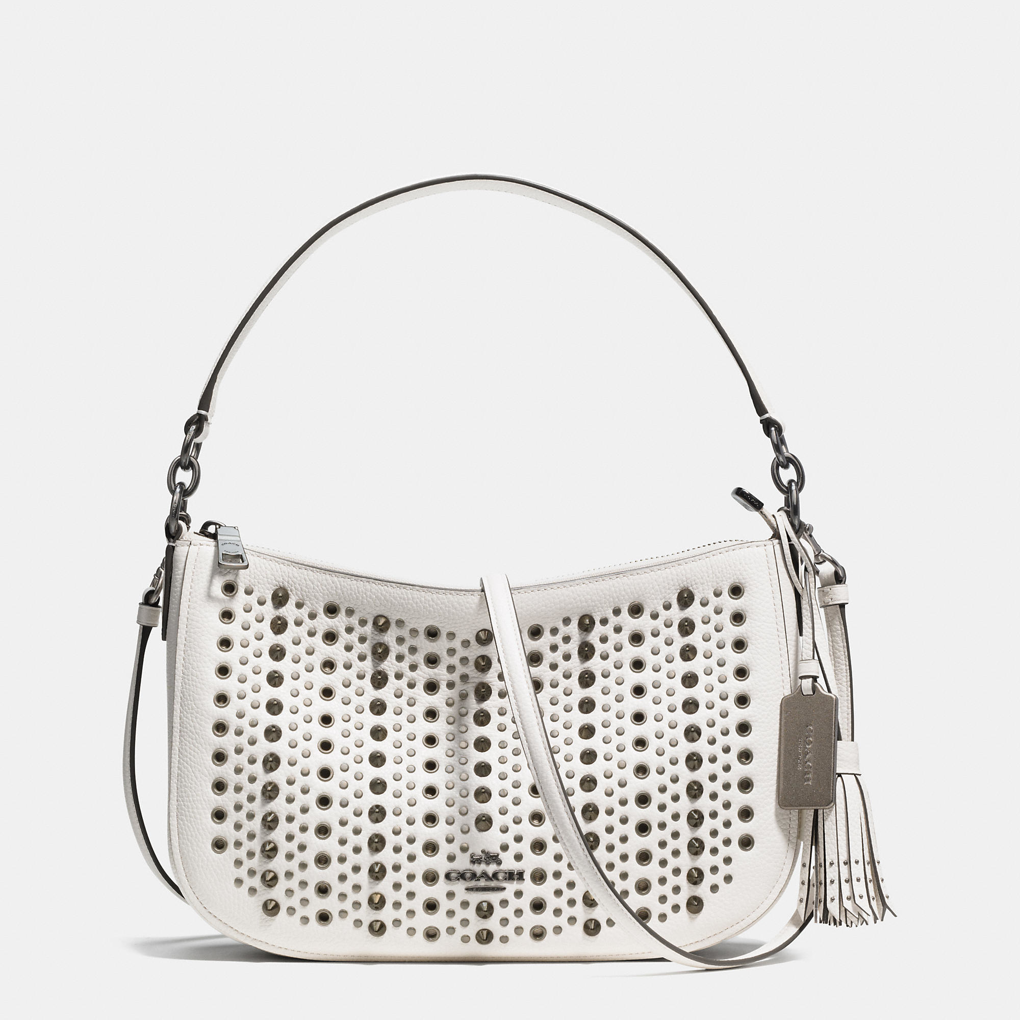f6380d337e ... best price coach all over studs chelsea crossbody in pebble leather in  9bf51 226af