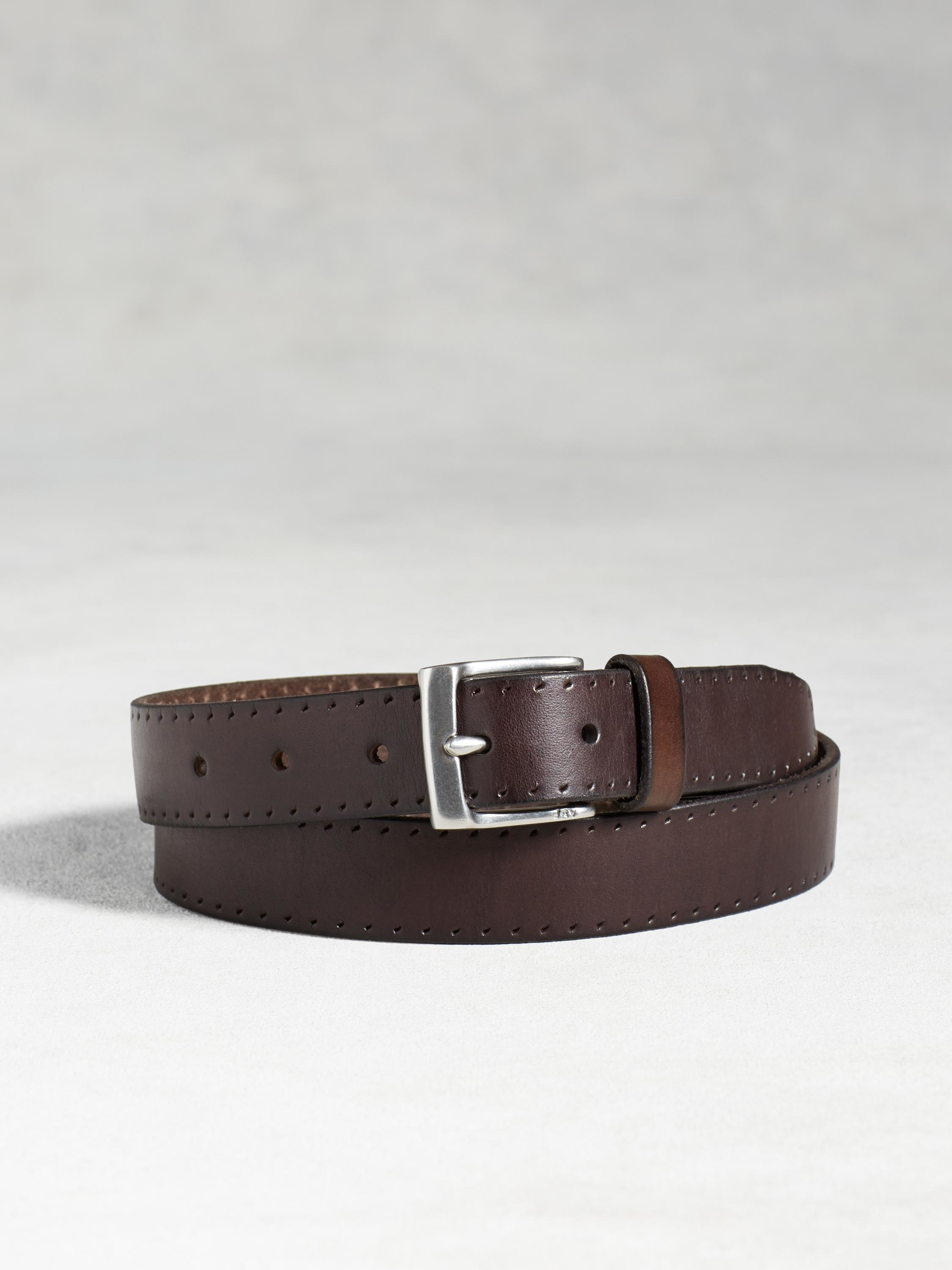 varvatos leather perforated belt in brown for lyst