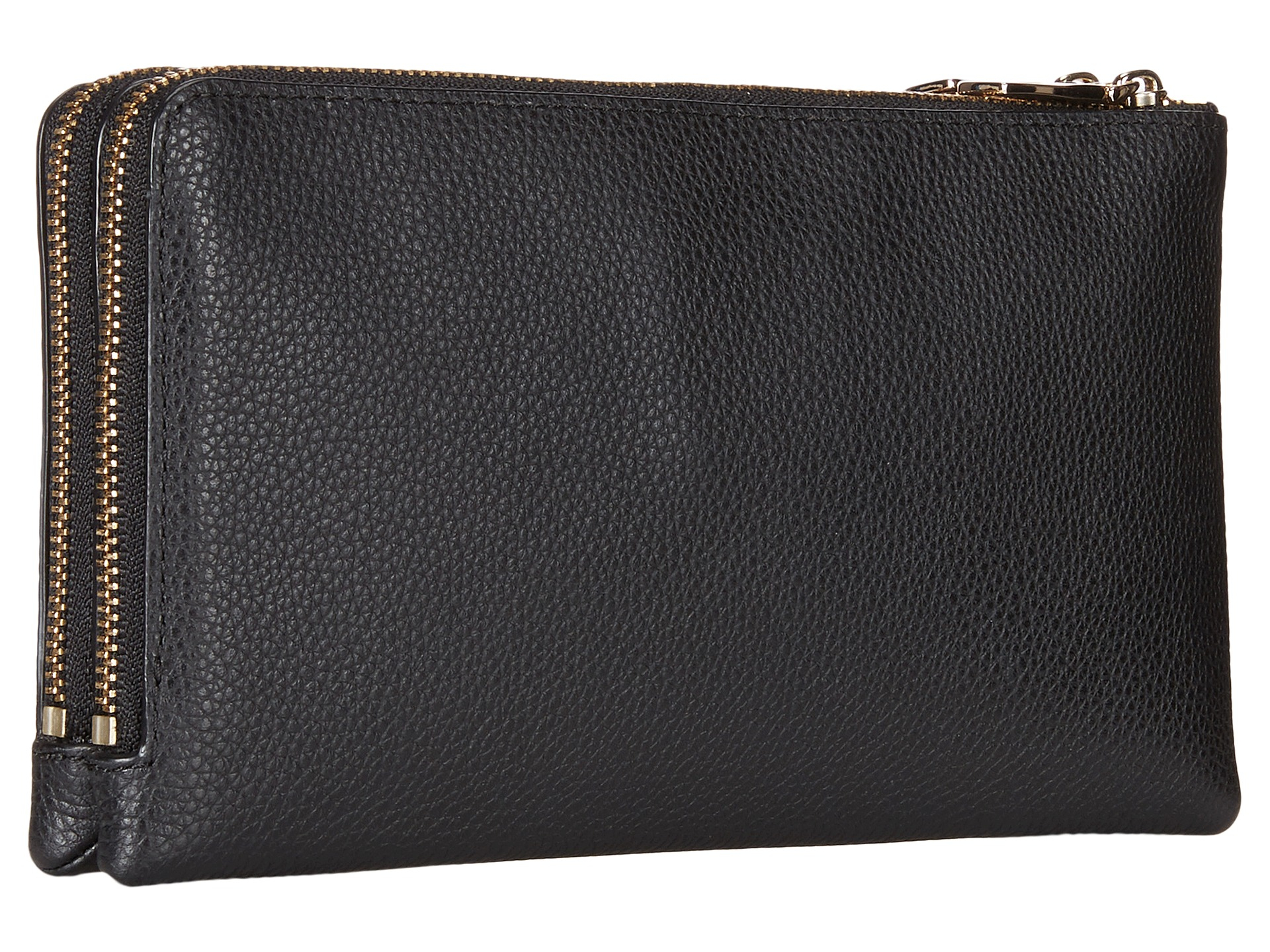 coach polished pebbled leather double zip wallet in black