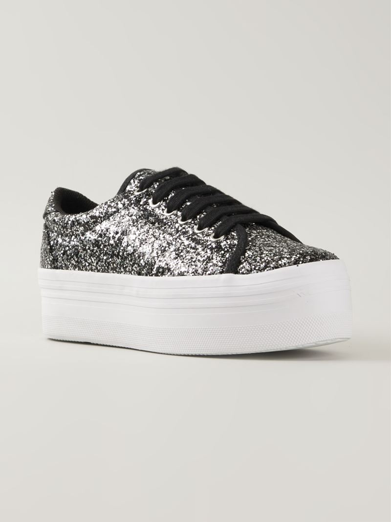 f0cd3a8146f Lyst - Jeffrey Campbell Glitter Platform Sneakers in Black