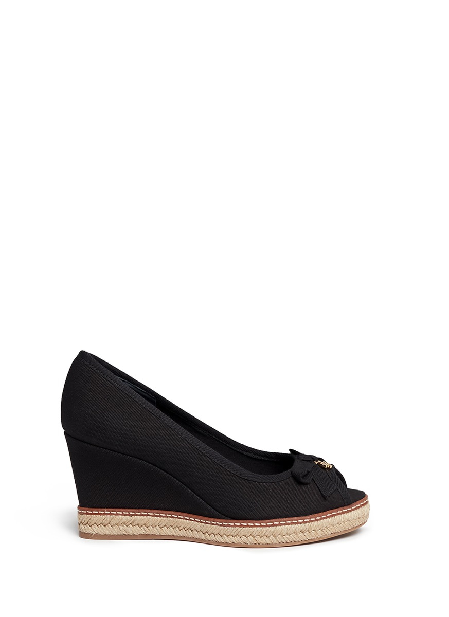 0bbf54db9754 Lyst - Tory Burch  jackie  Canvas Espadrille Wedge Peep Toe Pumps in ...