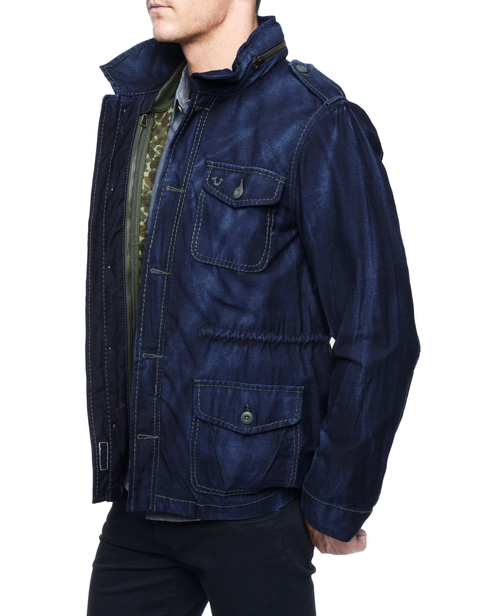 True religion Denim Military Mens Jacket With Quilted Camo Vest in ...